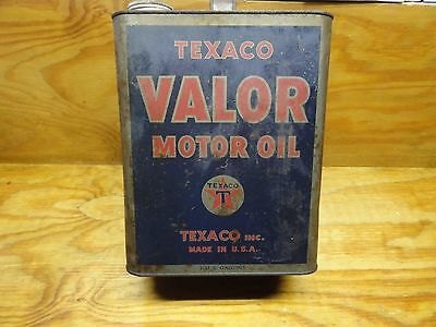 Vintage Texaco Valor 2 Gallon Motor Oil Can The Texas Co USA TIN CAN