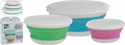 Set of 3 Collapsible Folding Storage Bowls with Lids Camping Caravan Boat