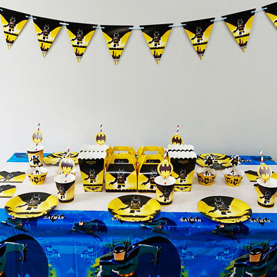 Batman Theme Birthday Party Decoration Tableware Range (Plates Cups Banners etc)