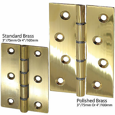 """CHOOSE 2 x POLISHED/SOLID BRASS Door Butt Hinge DSW Heavy Duty 3""""/4"""" Large Pair"""