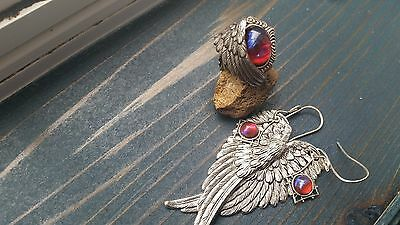 Angel Wing Ring and Earrings Stunning Fire Opal Sale Back to school Fall gifts