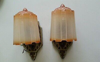 Two (2) Art Deco Slip Shade Wall Sconce Glass Shade Light Fixtures