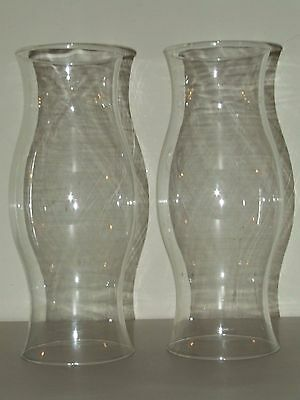 """Antique Matching Pair Large Hand Blown Hurricane Candle Lamp Chimney Shades 14"""""""