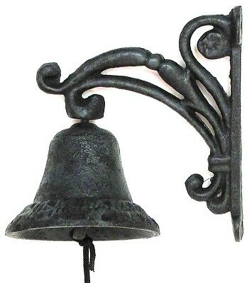Mounted Cast Iron Vintage Green Aged Looking Vine Bell  Read Below For All Info