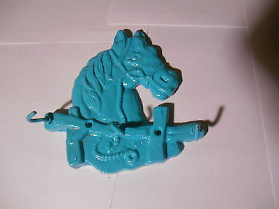"CAST IRON HORSE HEAD,KITCHEN-KEY ,ECT: 3 HOOKS. SEA BLUE  ( 6"" x 6""  X 1.3 )"