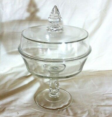 Glass lidded Compote Cylindrical Finial Handle