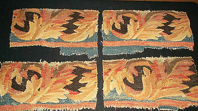 European antique hand made tapestry fragments large acanthus leaves warm tones