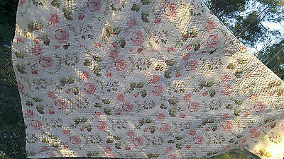 French antique quilt hnd quilted reversible cotton floral front stripe back 1920