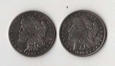 1893 Two Face Morgan Dollar Hobo Nickel Style Two Headed Skull Zombie Trick Coin