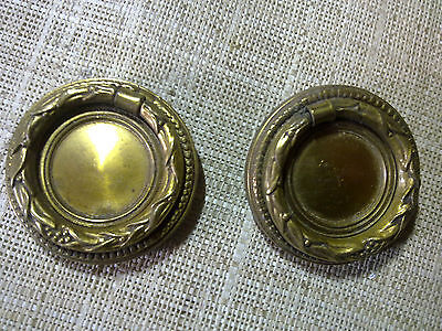 brass ring handles x 2, antique or vintage (lot ff)
