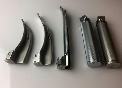Laryngoscope  Lot of 5 Macintosh and Miller Blades + 2 Handle Adult Stainless
