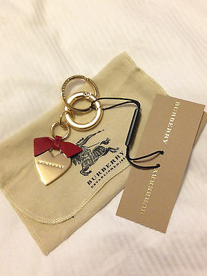 BRAND NEW Burberry Heart Keyring Parade Red
