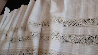 French antique hand sewn tiny pleats hand made lace long piece 4 projects c 1900