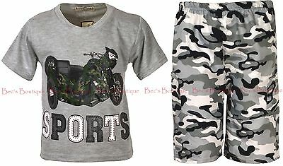 Boys 2 Piece Outfit T-Shirt & Shorts Army Camouflage Motorsports Theme Ages 3-12