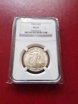 1945 D Denver 50 C Silver Liberty Walking Half Dollar NGC 64