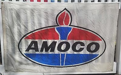 "FREE SHIPPING! Vintage Amoco Gas Station Advertising Flag, Banner, 57"" x 36"""