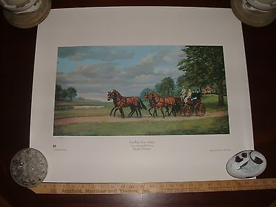 """Numbered Art Print/litho Horses Carriage """"east Oaks Four In Hand"""" By Jean Bowman"""