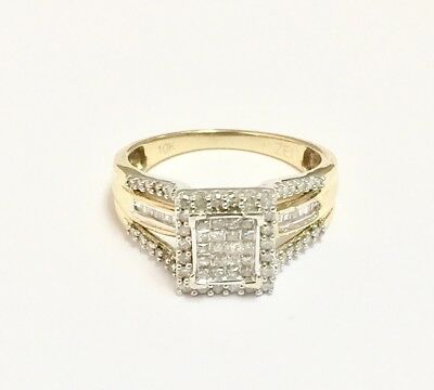 10k Solid White/Yellow Gold Multi Diamond Engagement Ring. 1 TCW. Size 7