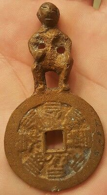 Rare 1 Of A Kind Very Early Chinese Large Coin Folkart Small Bronze Handmade Man