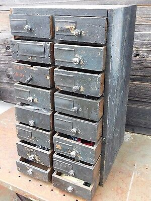 Industrial Steampunk Wood Wooden Parts Bin Organizer Pull Drawers 16 drawers