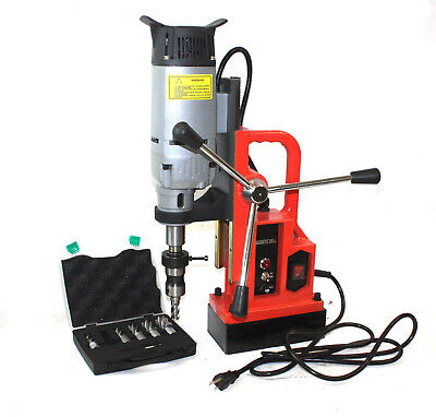 1350W Magnetic Drill Press 3372LBS Magnet Force w/6 pcs HSS Annular Cutter Bits
