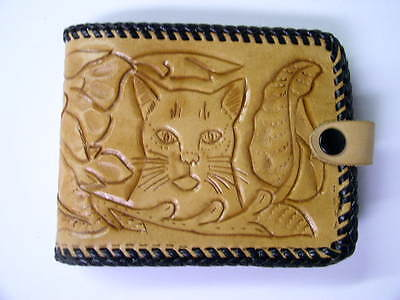 Vintage Unused Hand Tooled Bifold Wallet Billfold Embossed Leather Cat Face