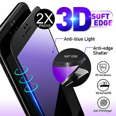 2X 3D Full Cover Soft Edge Tempered Glass Screen Protector For iPhone 7 6 6s