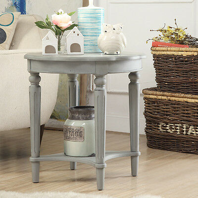 Fordon French Living Room Side End Table Stand Shelf Solid Wood Antique Slate