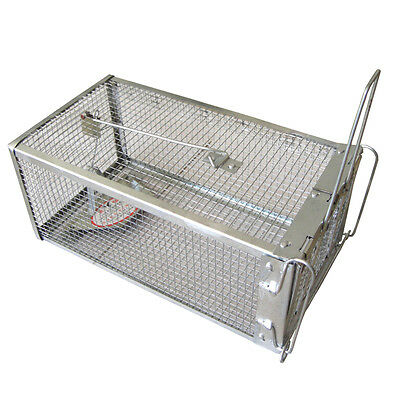 Live Animal Catch Life Trap 1 Door Iron Mesh Cage Prey Hunt Rabbit Rodent Mouse