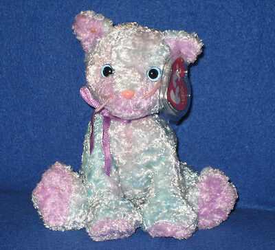TY JAZ the BLUE & PINK CAT BEANIE BABY - MINT with MINT TAGS