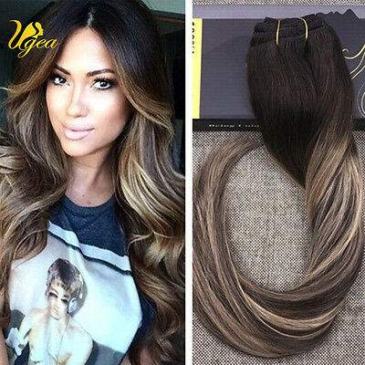 Balayage Ombre Brown with Highlight Blonde Remy Clip in Human Hair Extensions