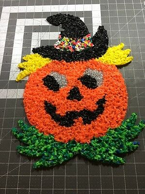 VINTAGE MELTED PLASTIC POPCORN Halloween Jack-o-lantern Pumpkin DECORATION 2