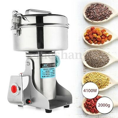 2000G 4100W Electric Coffee Herb Grain Grinder Cereal Mill Flour Wheat Machine A