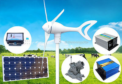 550W 12V Wind Turbine Generator Kit + Controller+100W Solar Panel+Mount+Dumpload
