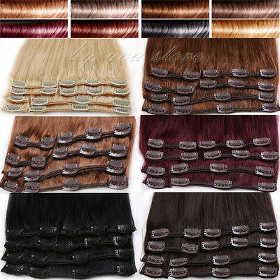 7pcs Clip In 100% Real Human Hair Extensions Remy Full Head Wholesale US BS350