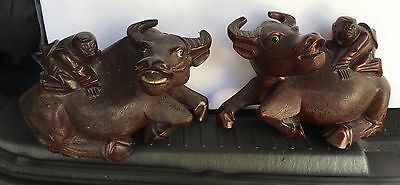 2 Vintage Chinese Wood Oxen With Children Riding
