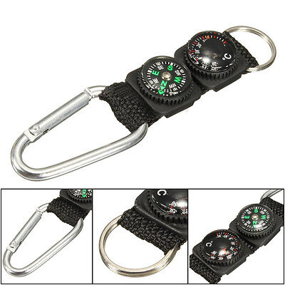 3 in 1 Mini Multifunctional Hiking Metal Carabiner Compass Thermometer Keychain