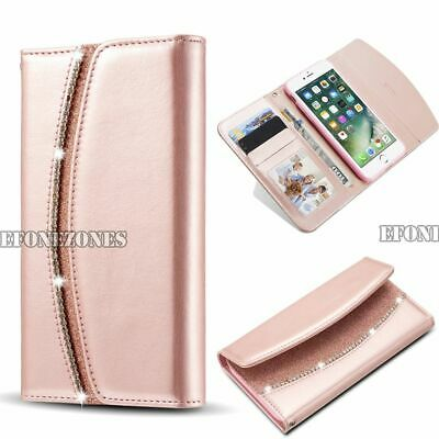 For iPhone 7 Plus 6s New Diamond Crystal Magnetic Leather Flip Wallet Case Cover