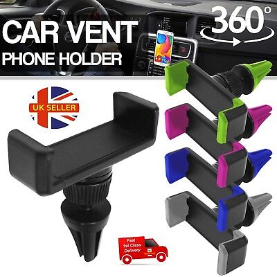Universal Mobile Phone 360° Rotating Car Air Vent Mount Holder Stand Cradle UK