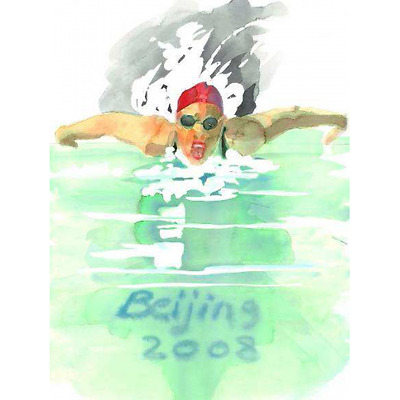 Swimming by T. Gould [Original Poster for Olympic Games Beijing 2008]