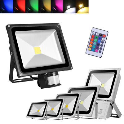 LED Floodlight PIR 10/20/30/50/100W Motion Security Flood Light Warm Cool IP65