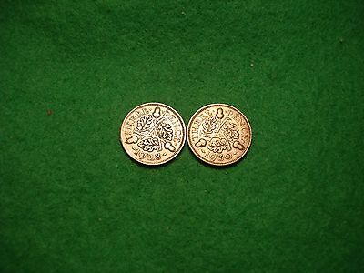 1928 and 1930 george V silver threepences,scarcer dates FREEPOST