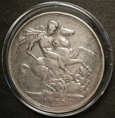 1889 Silver British Crown Coin 0.925 silver - St. George & Dragon - in capsule