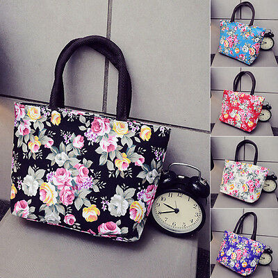 Retro Women Girls Floral Print Canvas Shopping Handbag Shoulder Tote Shopper Bag