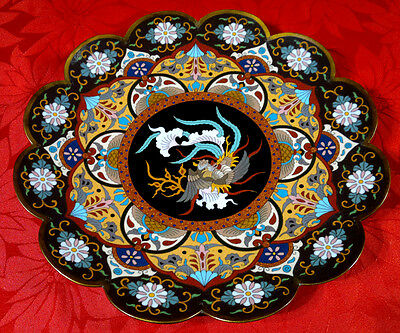 "Antique Meiji Period Japanese Cloisonne Charger Plate Scalloped Rim 12""dia"