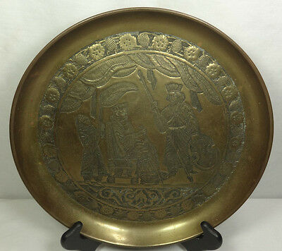 Vintage King Scene Brass Metal Art Middle Eastern Wall Hanging Plate Plaque