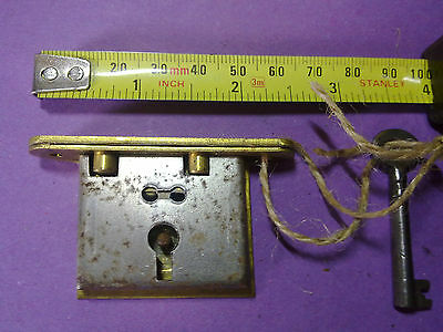 box lock, keep and key, full mortice, reclaimed,42 mm, vintage, (LL13)