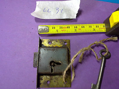 steel drawer or cupboard  lock  and key, about 62 mm, antique or vintage (LL31)