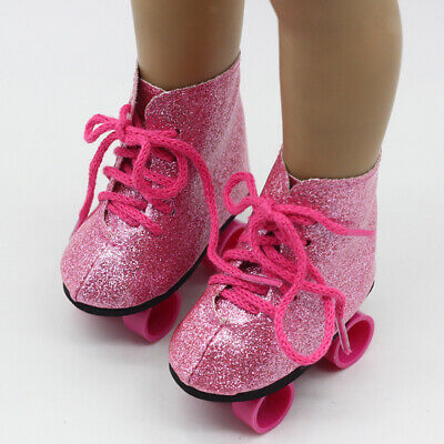 Adorable Pink Roller Skates Shoes for 18'' American Girl Our Generation Doll
