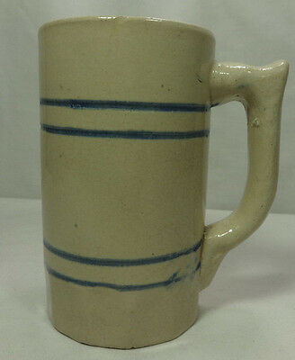 Antique Blue Band Banded Yellow Stone Ware Stoneware Yelloware Art Pottery Mug